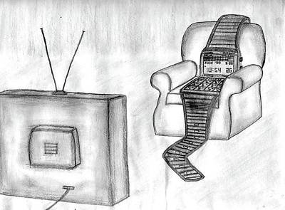 Drawing - Watch-ing Tv by Matt Harang