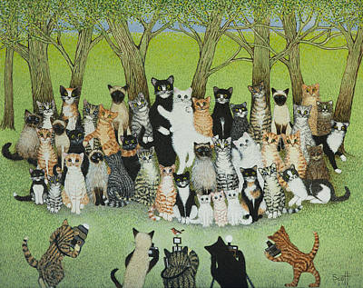 Funny Cat Painting - Watch The Birdie by Pat Scott