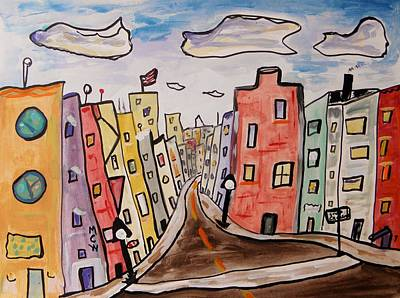 Flag Day Drawing - Watch The Crosswalk by Mary Carol Williams