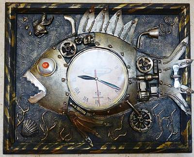Steampunk Drawing - Watch The Fish In The Steampunk Style by Yuri Shishunov