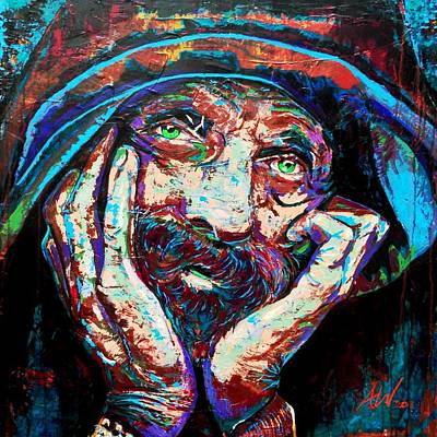 Hobo Art Painting - Watcher by Angie Wright