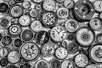 Photograph - Watches And Compasses In Black And White by Garry Gay