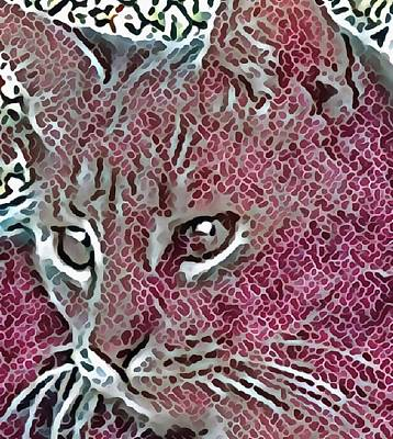 Digital Art - Watchful Cat In Mosaic by Dorothy Berry-Lound