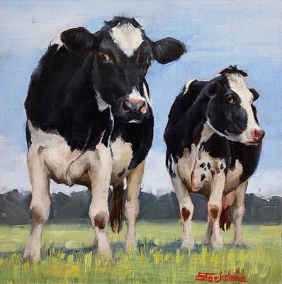 Painting - Watchful Cows Mini Painting  by Margaret Stockdale