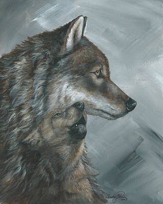 Wolf Pup Painting - Watchful Eye by Christine StPierre