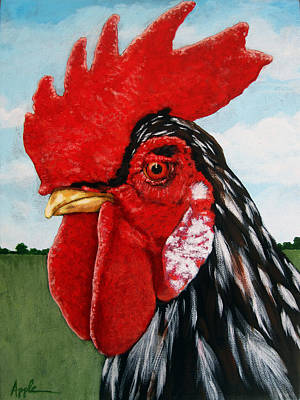 Watchful Rooster Farm Animal Painting Art Print by Linda Apple