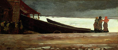 Watching A Storm On The English Coast Print by Winslow Homer