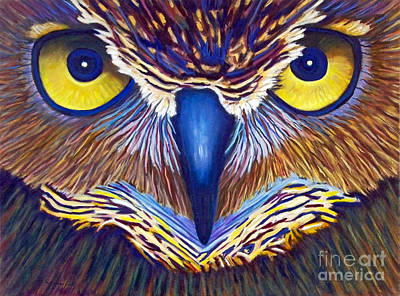 Owls Painting - Watching by Brian  Commerford