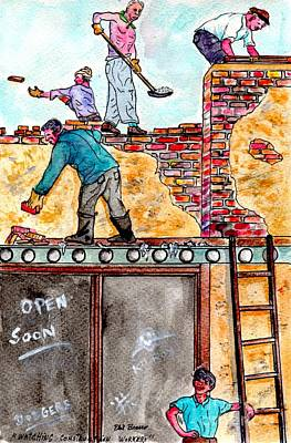Painting - Watching Construction Workers by Philip Bracco