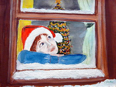 Painting - Watching For Santa by Cathy Jourdan