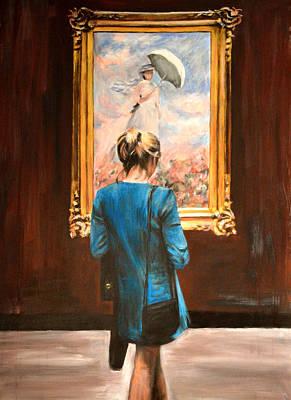 Woman Painting - Watching Monet by Escha Van den bogerd