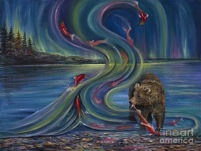 Salmon Painting - Watching Salmon by Vicki Caucutt