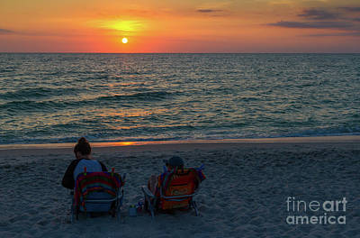Photograph - Watching Sunset At Gulf Of Mexico by Les Palenik