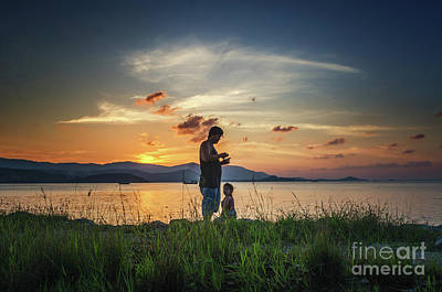Photograph - Watching Sunset With Daddy by Michelle Meenawong