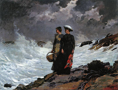 Winslow Homer Painting - Watching The Breakers by Winslow Homer