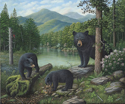 Wavra Wall Art - Painting - Watching The Cubs Play by Robert Wavra