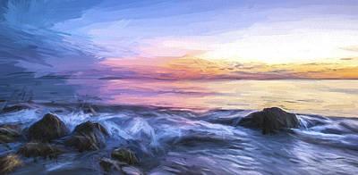 Shore Digital Art - Watching The Last Light II by Jon Glaser