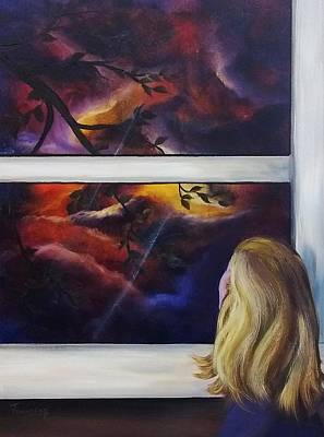 Eerie Painting - Watching The Stom by Connie Townsend