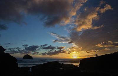 Photograph - Watching The Sunset At Trebarwith Strand by Pete Hemington