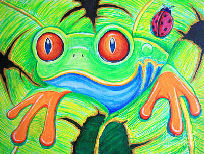 Watching You Red Eyed Tree Frog Art Print by Nick Gustafson