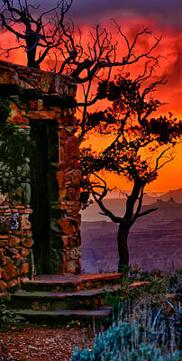 Photograph - Watchtower Stormy Sunset Triptych Left Panel by Greg Norrell