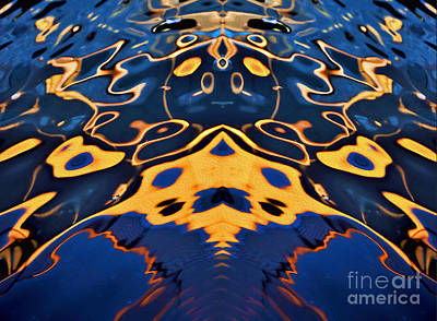 Golden Waters Digital Art - Water Abstract Mirrored by Kaye Menner