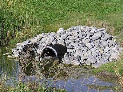 Water And Culverts Art Print by Richard Mitchell