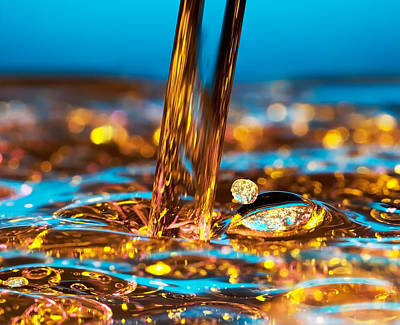 Drops Photograph - Water And Oil by Setsiri Silapasuwanchai