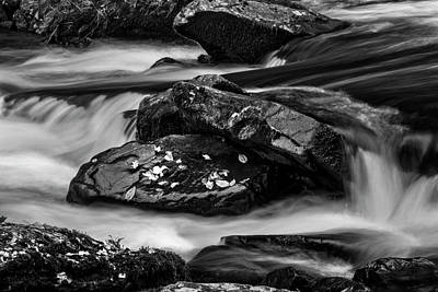 Rock Photograph - Water Around Rocks In Black And White by Greg Mimbs