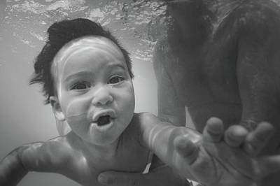Photograph - Water Baby #2 - Black And White Conversion by Mark Robert Rogers