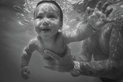 Photograph - Water Baby #3 - Black And White by Mark Robert Rogers