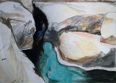Painting - Water Between The Rocks by Esther Newman-Cohen