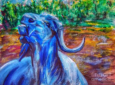 Painting - Water Buffalo by Isabella F Abbie Shores