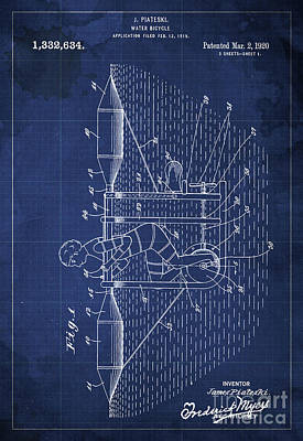 Bycicle Drawing - Water Bycicle Patent Blueprint Year 1920 by Pablo Franchi