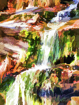 Retro Look Painting - Water Cascading by Lanjee Chee