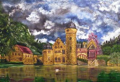Painting - Water Castle Mespelbrunn by The GYPSY And DEBBIE