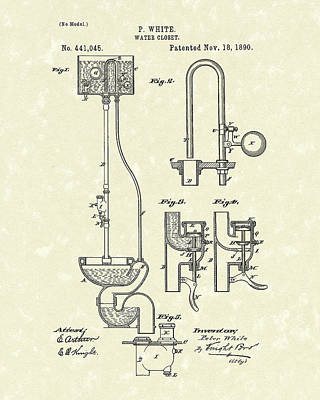 Drawing - Water Closet Patent Art Parchment  by Prior Art Design