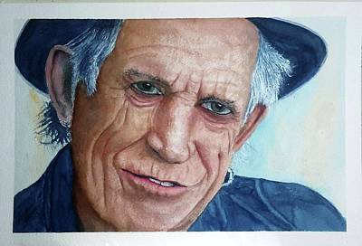 Painting - Water Color Keith Richards by Richard Benson