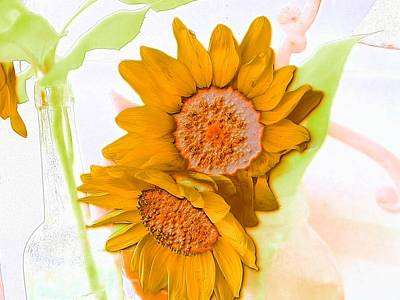 Photograph - Water Color Sunflower Couple by Belinda Lee