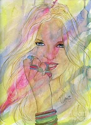 Girl Face Drawing - Water Colored Memories by P J Lewis