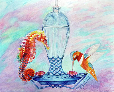 Seahorse Mixed Media - Water Cooler Romance by Margien Burns