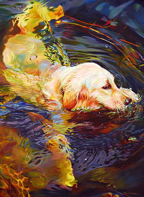 Golden Retriever Wall Art - Painting - Water Dance 2 by Kelly McNeil
