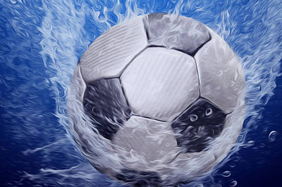 Segment Painting - Water Drops Around Soccer Ball  by Lanjee Chee