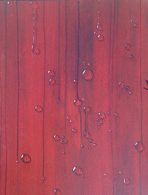 Water Drops On Red Art Print