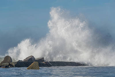 Photograph - Water Eruption At The North Jetty by Greg Nyquist