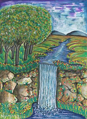 Kenyan Painting - Water Fall by Ken Nganga