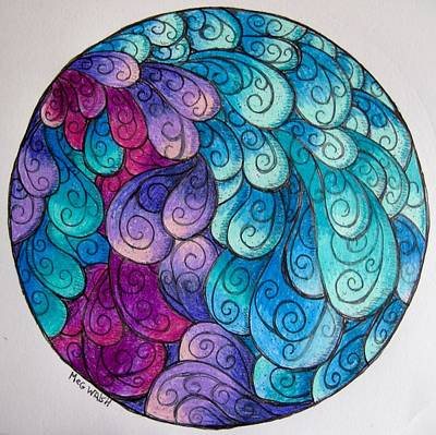 Drawing - Water Fall Mandala by Megan Walsh
