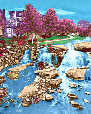 Water Falls Park Greenville Sc Art Print by Rachelle Petersen