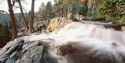 Emerald Bay Photograph - Water Flowing At A Waterfall, Emerald by Panoramic Images