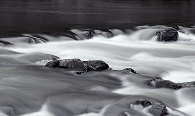 Photograph - Water Flowing Over Rocks In Black And White by Scott Sanders